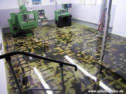 Lehrwerkstatt vorher mit grundierten Asphaltplatten